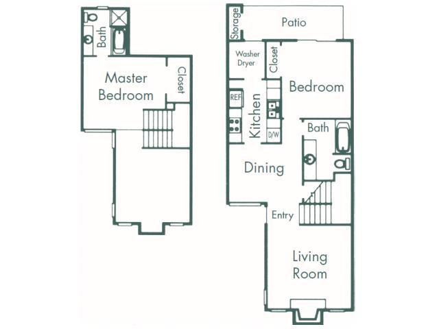 1,085 sq. ft. B8 floor plan