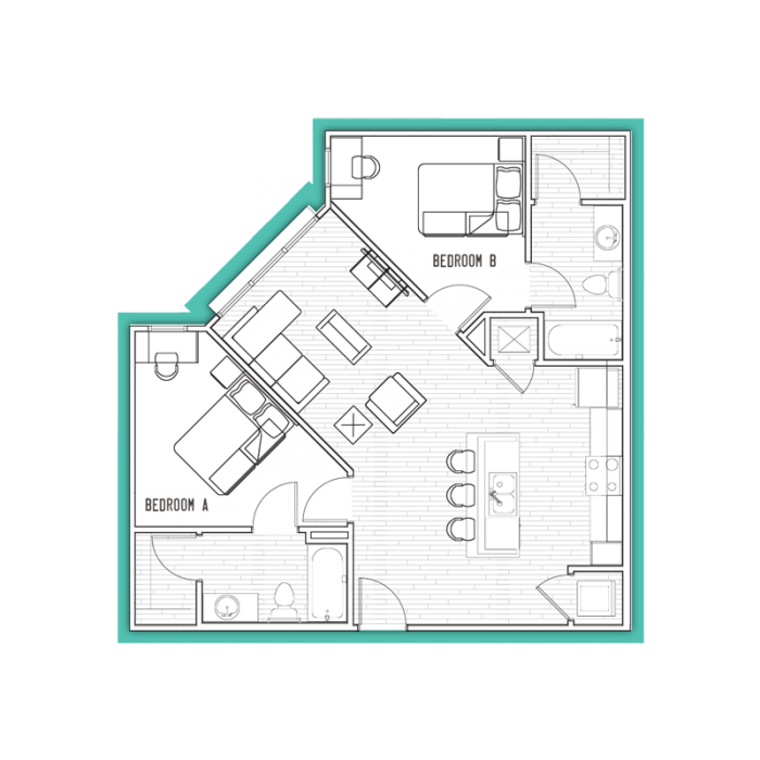 897 sq. ft. B2 floor plan