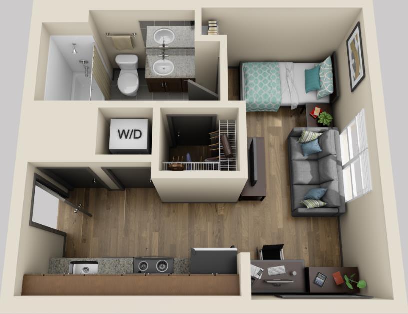 350 sq. ft. floor plan