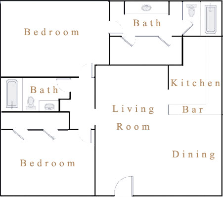 945 sq. ft. B2 floor plan