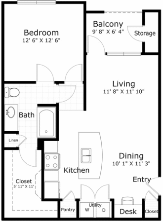 789 sq. ft. A1-1NS floor plan