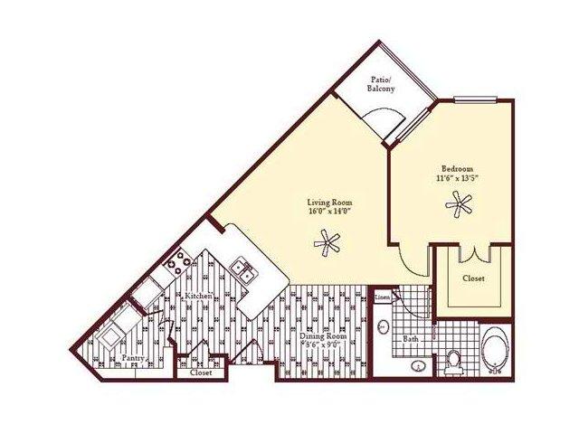831 sq. ft. A2 floor plan