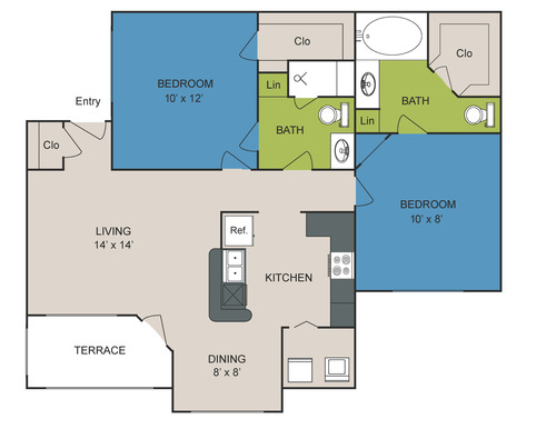 1,057 sq. ft. B2 floor plan