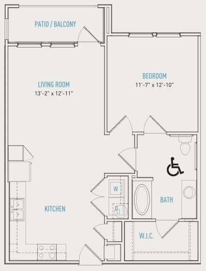 742 sq. ft. A3-ALT floor plan