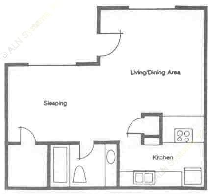 544 sq. ft. A1 floor plan