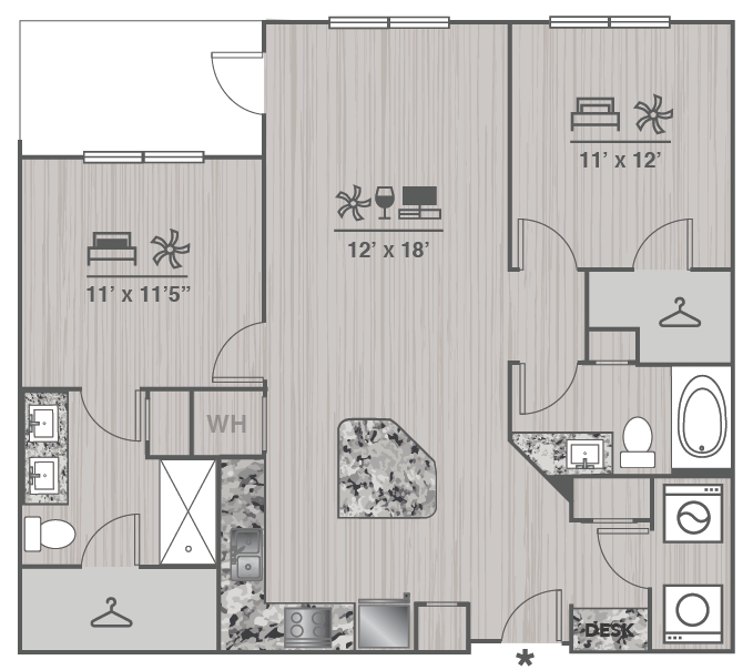 1,073 sq. ft. B1 floor plan