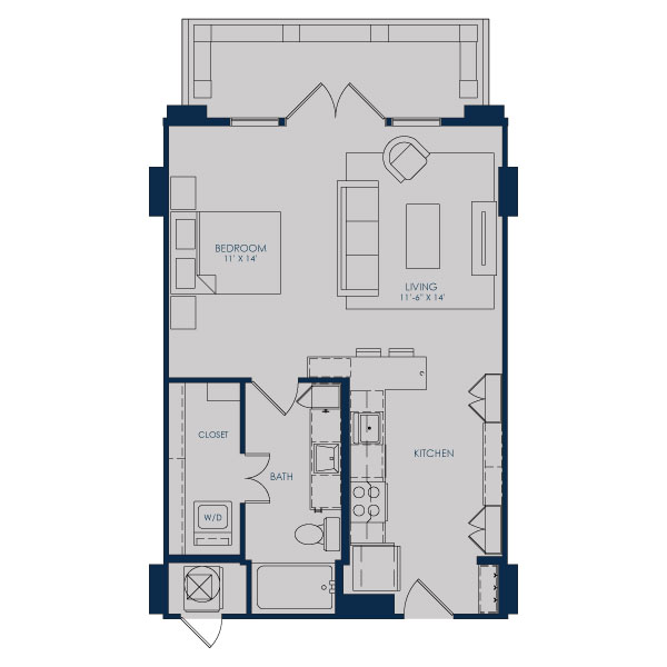 641 sq. ft. S21 floor plan