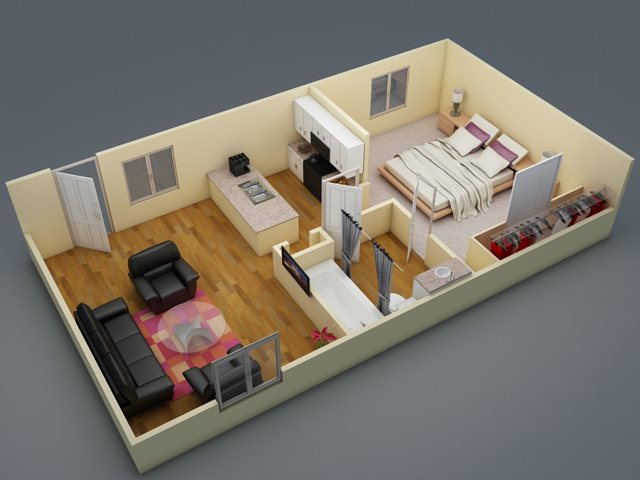 522 sq. ft. floor plan