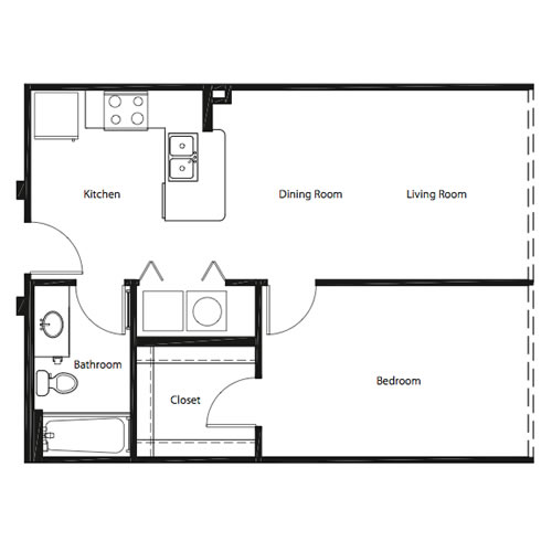 636 sq. ft. AA floor plan