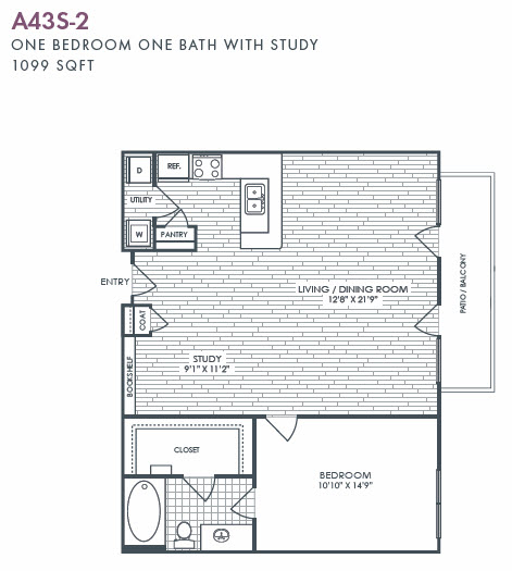 1,099 sq. ft. A43S-2 floor plan