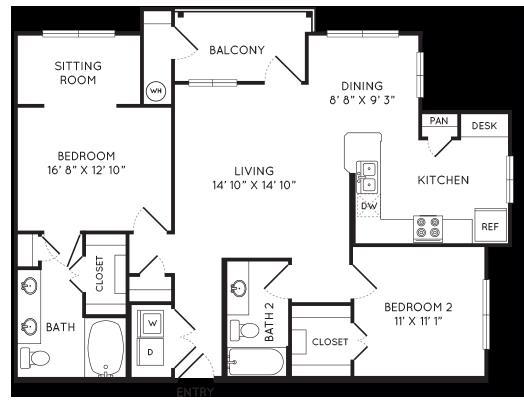 1,136 sq. ft. B5 floor plan