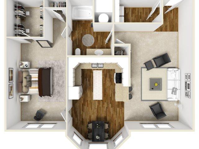 1,003 sq. ft. NOHAVEN floor plan