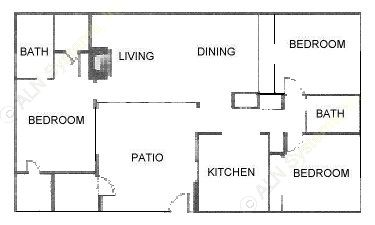 1,350 sq. ft. C1 floor plan