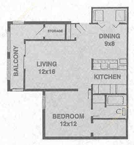 652 sq. ft. A2 floor plan