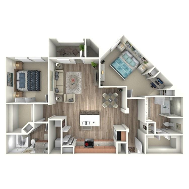 1,187 sq. ft. B4 floor plan