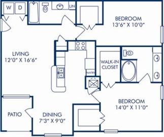 1,095 sq. ft. C floor plan
