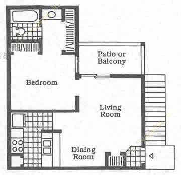 519 sq. ft. A1 floor plan