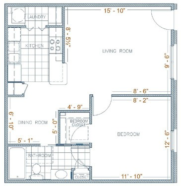 700 sq. ft. Aspen floor plan