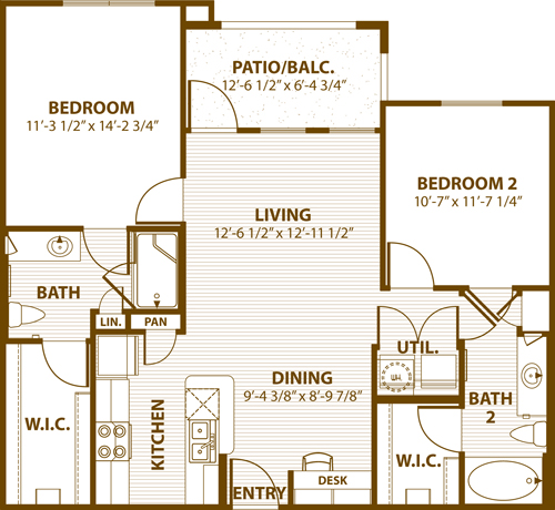990 sq. ft. A2 60% floor plan