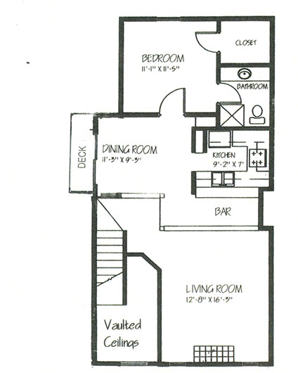 1,357 sq. ft. B2A floor plan