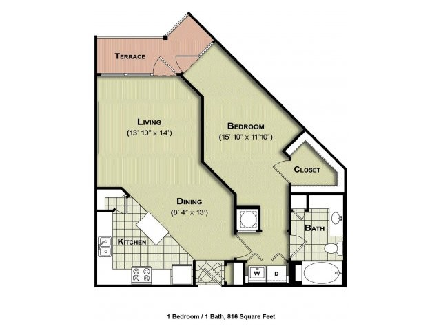 816 sq. ft. A2a floor plan