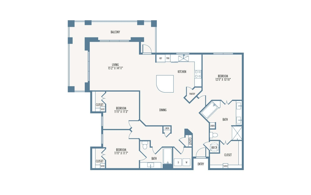 1,699 sq. ft. C1 floor plan