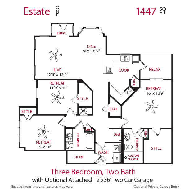 1,447 sq. ft. Estate 1 floor plan