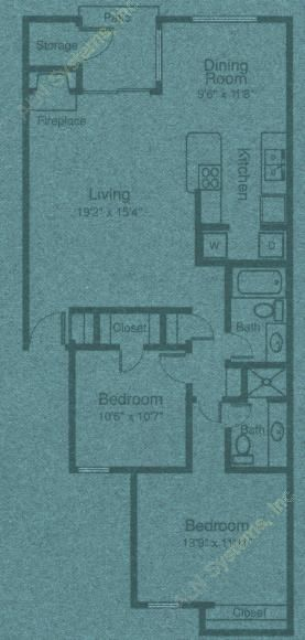 1,045 sq. ft. B3 floor plan