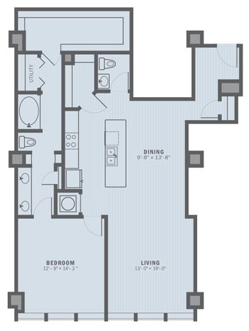 1,197 sq. ft. A7A floor plan