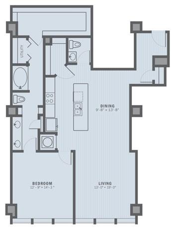 1,197 sq. ft. A7A floor plan
