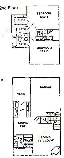 1,228 sq. ft. B2 floor plan