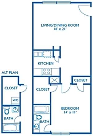 672 sq. ft. Henley floor plan