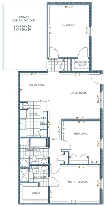 1,300 sq. ft. MONTERREY floor plan