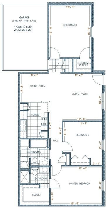 1,300 sq. ft. MONTERREY floor plan