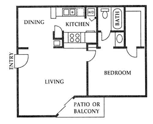 613 sq. ft. B floor plan
