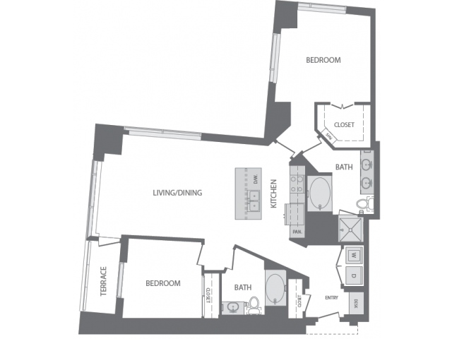 1,361 sq. ft. M floor plan