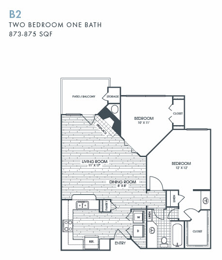 873 sq. ft. to 875 sq. ft. B2 floor plan