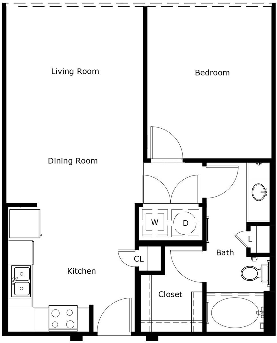 702 sq. ft. A1C floor plan
