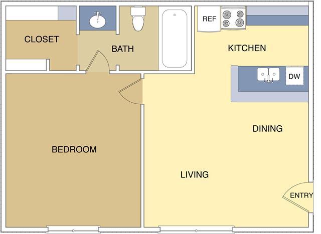 510 sq. ft. A2 floor plan