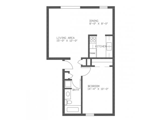 645 sq. ft. Willow floor plan