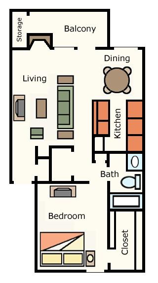 692 sq. ft. 1D10 floor plan