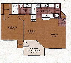 800 sq. ft. A2/BOWIE floor plan