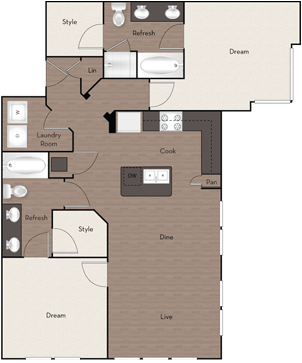 1,146 sq. ft. B3 floor plan