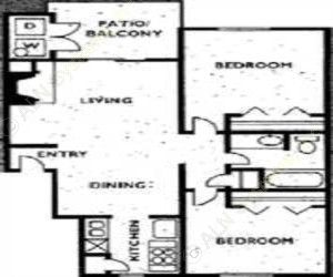 780 sq. ft. 2A1 floor plan