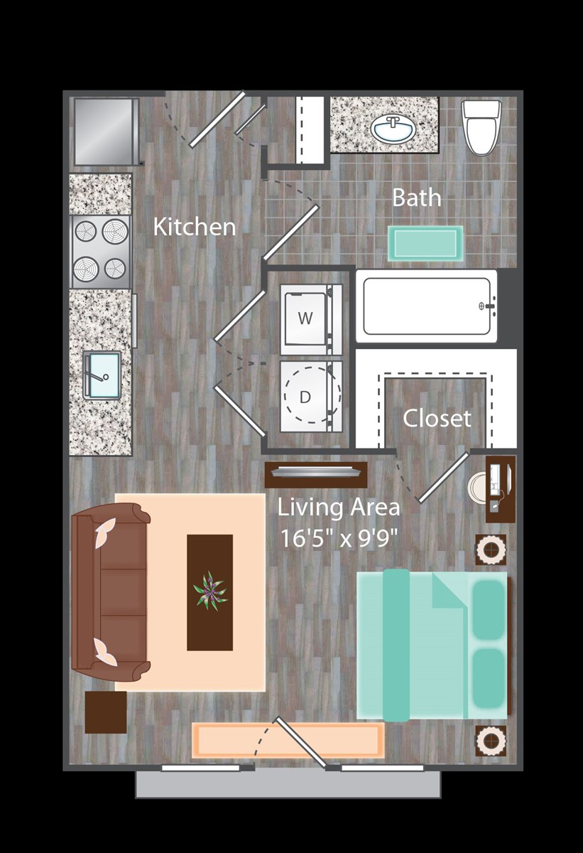 425 sq. ft. Brooklyn floor plan