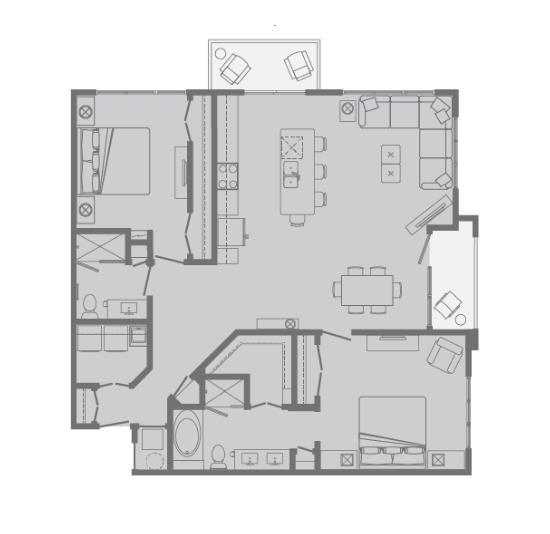 1,353 sq. ft. I floor plan