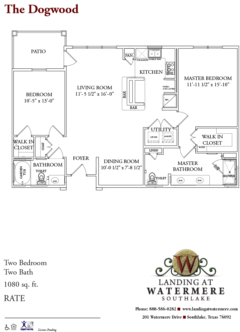 1,080 sq. ft. Dogwood floor plan