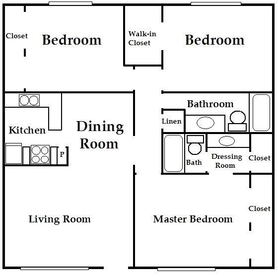 1,000 sq. ft. C1 floor plan