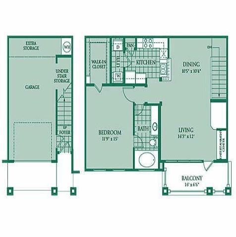896 sq. ft. Aurora floor plan