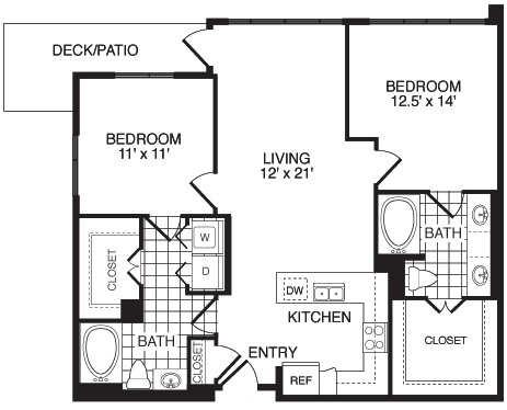1,108 sq. ft. Courage/Flat floor plan